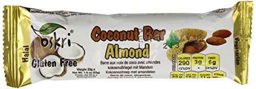 Oskri Coconut Bar With Almond, Gluten Free, 1.9-Ounce Bars (Pack Of 20)