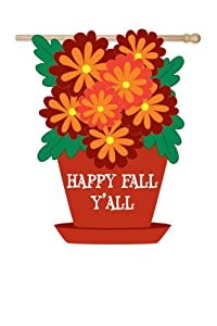 """Happy Fall Y'All"" Autumn Flower Pot Decorative Garden Flag 44"" x 28"""