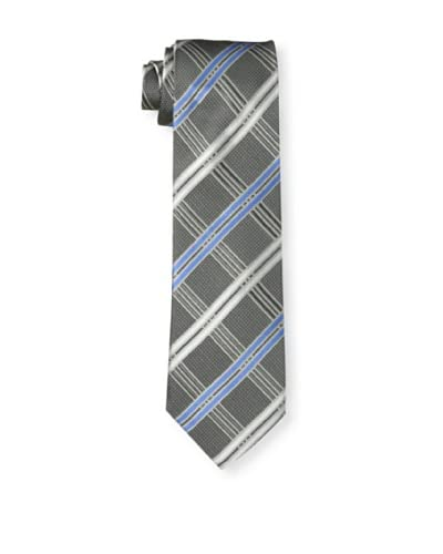 English Laundry Men's Crisscross Tie, Silver/Blue