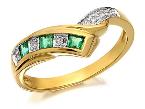 9ct-real-yellow-gold-diamond-and-emerald-stone-set-half-eternity-wishbone-ring-size-r