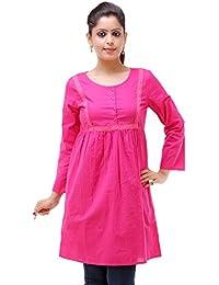 KASHANA Pure Cotton Fabric Pink Navy Lace Design Summer Tunic Dress For Women Girls Ladies