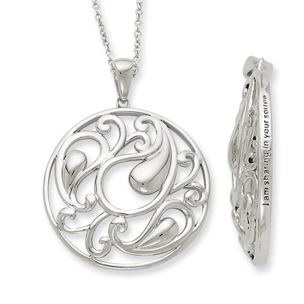 The Black Bow - I Am Sharing Your Sorrow Necklace in Silver