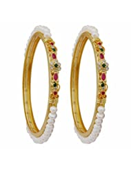 Nisa Pearls White Pearls With Crystal Combination Bangle