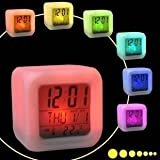 AndAlso Square Color Changing Digital LCD Alarm Table Desk Clock With Calender Time Temperature Lights