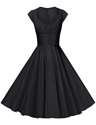 GownTown Womens Dresses Party Dresses 1950s Vintage Dresses Swing Stretchy Dresses, Black, Medium