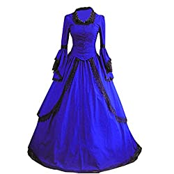 Women Long Sleeves Lace Floor-length Gothic Victorian Dress Large,Royal Blue