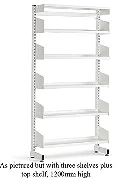 School Library Single Sided Shelving 3 Shelves 1200Hx900Wx300D White