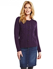 Indigo Collection Spiral Cable Knit Cardigan with Wool
