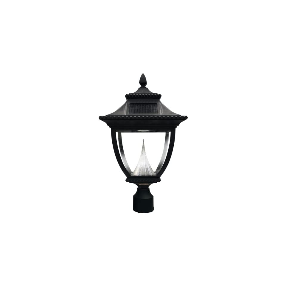 Gama Sonic Pagoda Solar Outdoor LED Light Fixture, 3 Inch Fitter for Post Mount, Black Finish #GS 104F