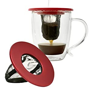 Primula Single Serve Coffee Brew Buddy - Nearly Universal Fit - Ideal for Travel - Eco-Friendly Reusable Fine Mesh Filter - Dishwasher Safe - Red