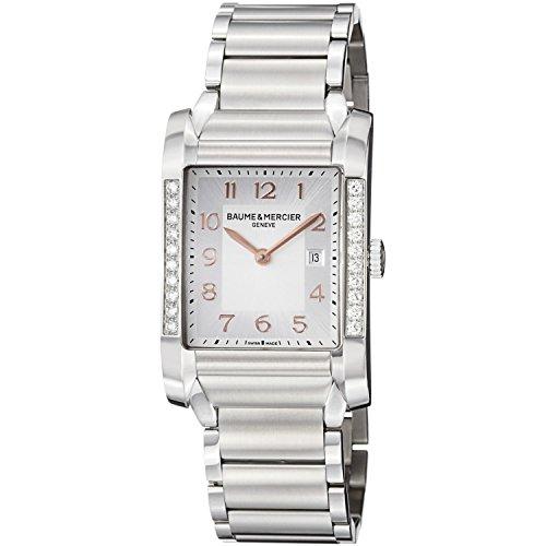 baume-y-mercier-hampton-de-plata-de-la-esfera-de-acero-inoxidable-reloj-de-mujer-m0a10023