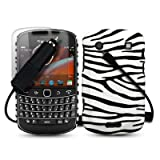 BLACKBERRY BOLD 9900 ZEBRA PU LEATHER BACK COVER CASE / SHELL / SHIELD + SCREEN PROTECTOR + CAR CHARGER PART OF THE QUBITS ACCESSORIES RANGEby Qubits