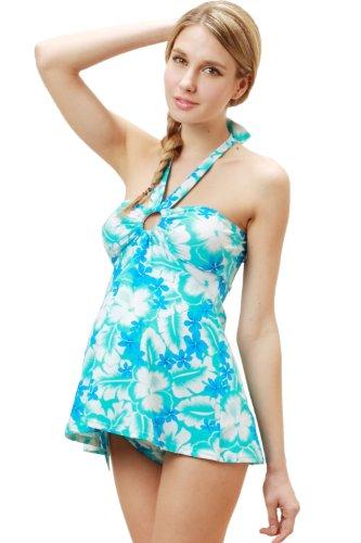 Sweet Mommy Tropical Print Maternity Swimwear Set M Blue