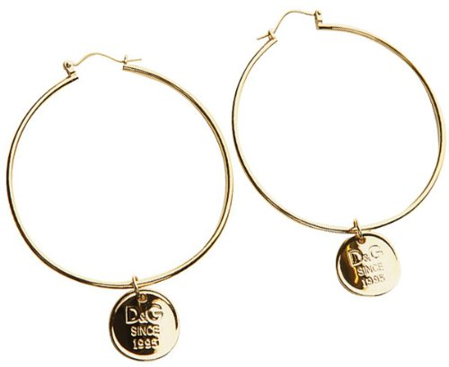 D & G Jewels Dj1003 Stainless Steel With Gold Ip Hoop Earrings