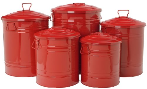 Houston International 6085E Steel Storage Cans 5-Pack, Red image