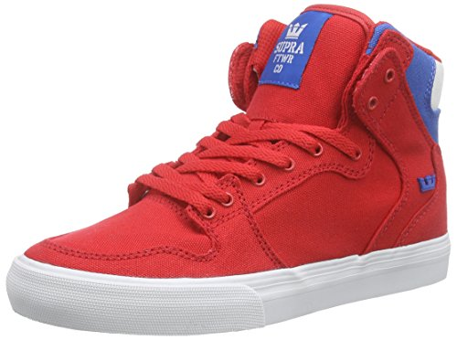 SupraKIDS VAIDER - Sneaker alta Unisex - Bambini , Rosso (Rot (RED / ROYAL - WHITE RDR)), 37.5