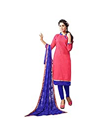 The Ethnic Chic Women's Dull Pink Colored Chanderi Cotton Suit