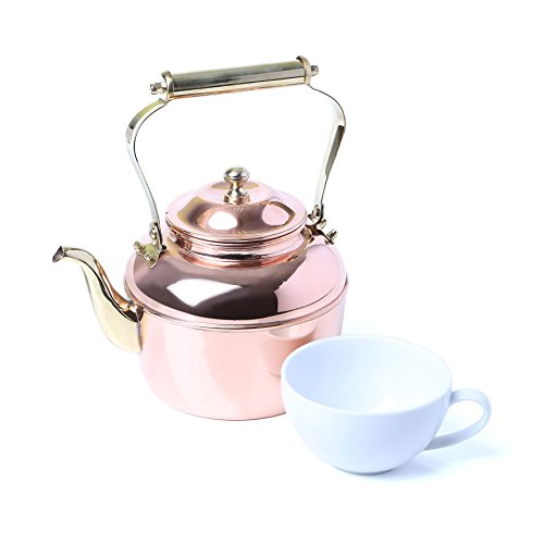 2.5 Qt Tea Kettle Stovetop Compatible: Gas Electric Glass; Copper / Brass (Allclad Tea Kettle compare prices)