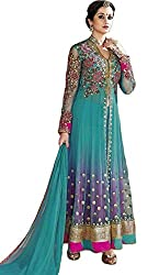 INDIA FASHION SHOP SKY BLUE PINK EMBROIDERED WORK NET UN-STITCHED DRESS