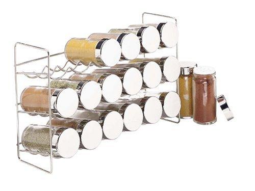 18-Glas-Gewürzregal, silberfarben
