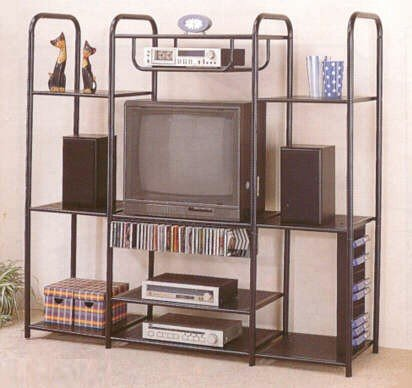 Image of Black Metal Entertainment Center TV Stand w/CD Rack Storage & Shelf (VF_2772)