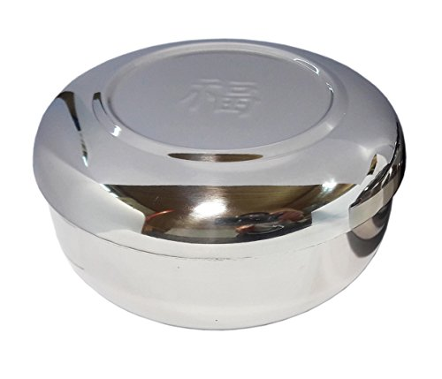 2sets Vacuum Insulated Double Wall Skin Stainless Steel Good Fortune Korean Traditional Rice Bowl with Lid (Stainless Steel Rice Bowl compare prices)