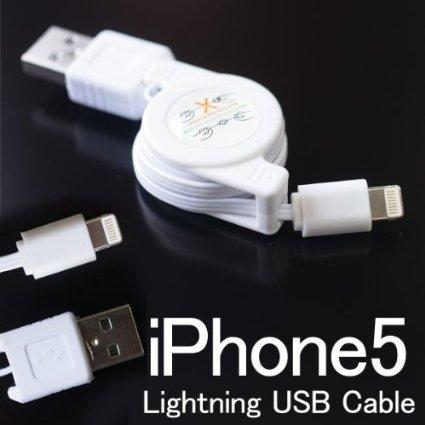 iphone5 lightning USBケーブル 巻き取りケーブル ライトニングケーブル コードリール式70cm