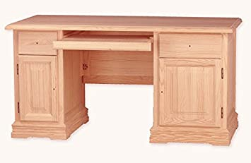 Muebles Natural - Office Table, Computer Desk, with Keyboard Tray, in Natural Wood Unpainted and without Handles, Dimensions 150 cm Width x 74 cm Depth x 77 cm High