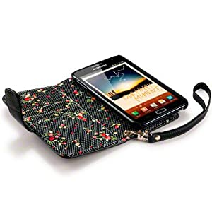 SAMSUNG GALAXY NOTE PREMIUM PU LEATHER WALLET CASE / COVER / POUCH / HOLSTER WITH FLORAL INTERIOR - BLACK PART OF THE QUBITS ACCESSORIES RANGE