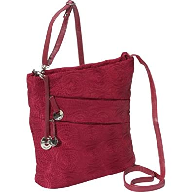 Travelon Embroidered Shoulder Bag (Ruby)