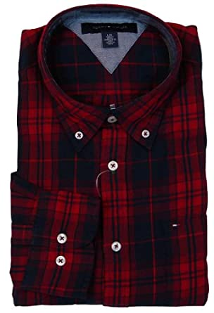 Tommy Hilfiger Mens Long Sleeve Custom Fit Button Front Shirt - M - Red Plaid