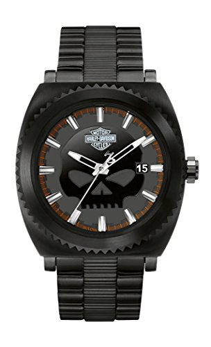 Harley Davidson Black Willie Men's Quartz Watch with Black Dial Analogue Display and Black Plated Stainless Steel Bracelet 78B135