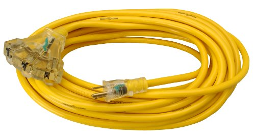 Yellow Jacket 2827 12/3 Heavy-Duty 15-Amp Sjtw Contractor Extension Cord With Lighted Power Block, 50-Feet