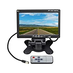 Eskyu00ae 7 inch TFT LCD Color 2 Video Input Car Rear View Monitor DVD VCR Monitor With Remote and Stand