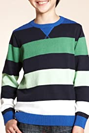 Pure Cotton Block Stripe Crew Neck Jumper [T87-3747M-S]