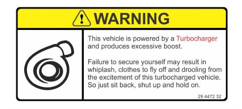 Warning this vehicle is turbocharged funny joke JDM vinyl decals bumper stickers (Turbocharged Decal compare prices)