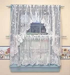 Curtains White Polyester Lace 30 Curtain