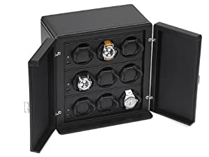 Scatola del Tempo Rotori 9RT Programmable 9 Watch Winder In Black Leather