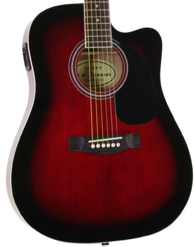 Red Full Size Thinline Acoustic Electric Guitar with Free Gig Bag Case (Full Size Thinline Acoustic compare prices)