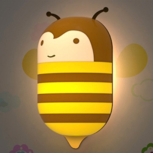 Outtop Kids Baby Cartoon DIY Light-control LED Wall Night Light and Wall Sticker (Yellow Bee)