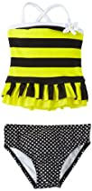 Love U Lots Baby-Girls Infant 2 Piece Bee Ruffle Tankini Stripe, Black/Yellow, 24 Months