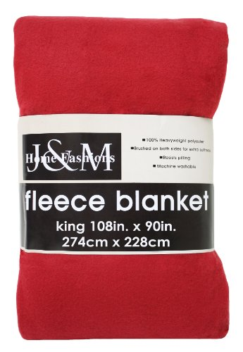 J & M Home Fashions 108-Inch By 90-Inch Fleece Blanket, King, Claret
