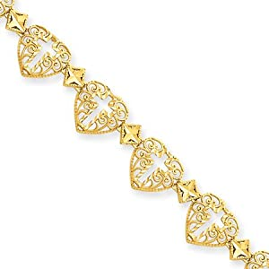 14K Yellow Gold Diamond Cut Heart & Cross Bracelet - 8