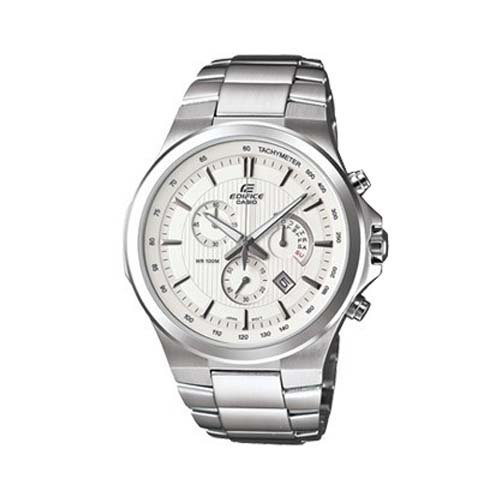 Casio Men's Analogue Watch EFR-500D-7AVDR with White Dial and Stainless Steel Bracelet