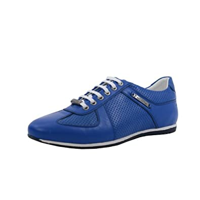 Versace Collection Blue Leather Fashion Sneakers Shoes US 12 EU 45