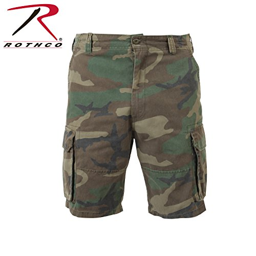 Rothco The Vintage Paratrooper Cargo Shorts,Medium, Woodland Camo Army Camouflage Shorts