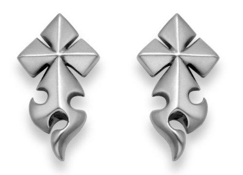 Sterling Silver Tribal Cross and Flame Stud Earrings.