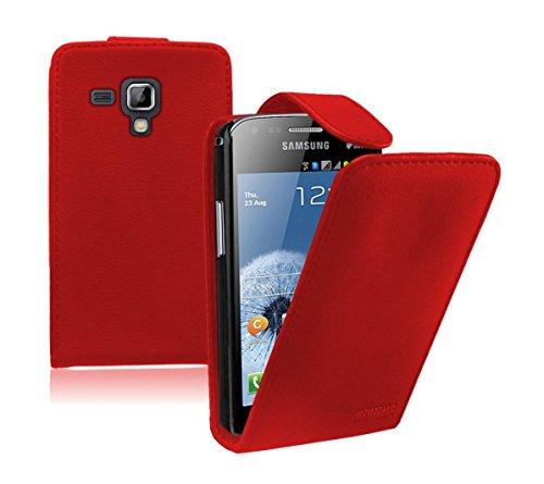 Membrane - Rot Klapptasche Hülle Samsung Galaxy Trend Plus (GT-S7580) - Flip Case Cover Schutzhülle