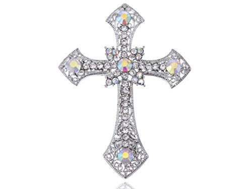 Spicy Key Holy Anglo Saxon Clear & AB Rhinestones Cross Costume Jewelry Pin Brooch (Cobra Cross Costume)