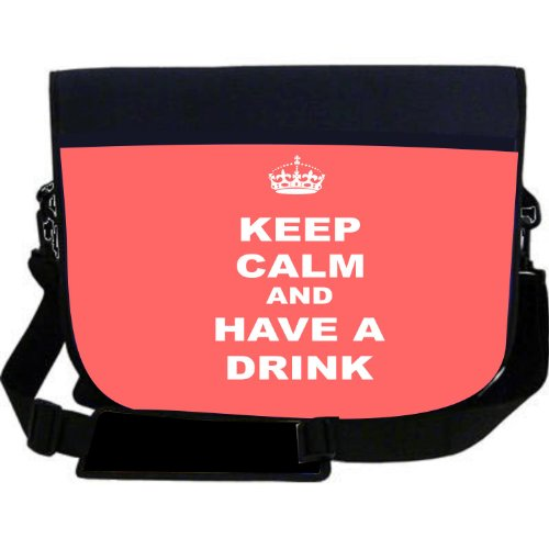 Rikki KnightTM Keep Calm and have a Drink   Tropical Pink Neoprene Laptop Sleeve Bag Messenger Bag   Laptop Bag  Notebook Bag   for Macbook, Macbook Pro, Aspire, Samsung, Acer, ASUS, Dell, HP, Lenovo, Sony, Toshiba Unisex   Ideal Gift for all occassions